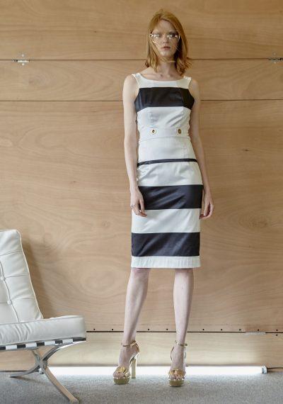 Φόρεμα navy, με ασπρόμαυρες ρίγες και κορδόνια στην πλάτη