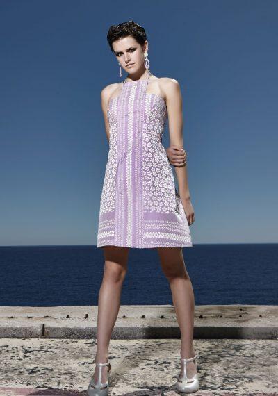 60's florale, strapless φόρεμα, με δέσιμο στο λαιμό