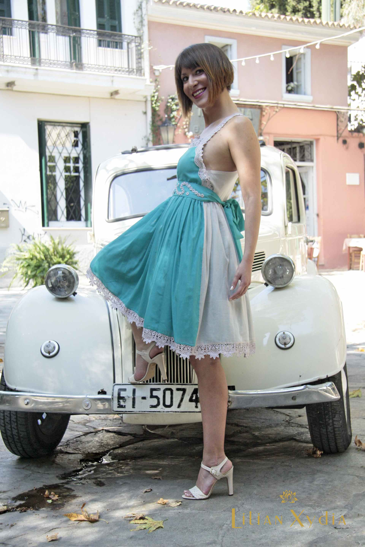 All day δίχρωμο φόρεμα με nervir, από μεταξωτό βουάλ, με τελειώματα από δαντέλα
