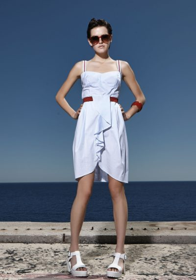 All day navy φόρεμα με φούστα τουλίπα και ζώνη