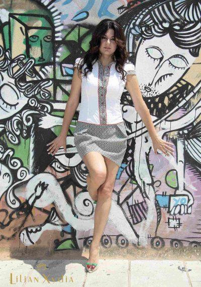 All day πουκαμισοφόρεμα, με μπροκάρ φούστα και βαμβακερό πουά πουκάμισο