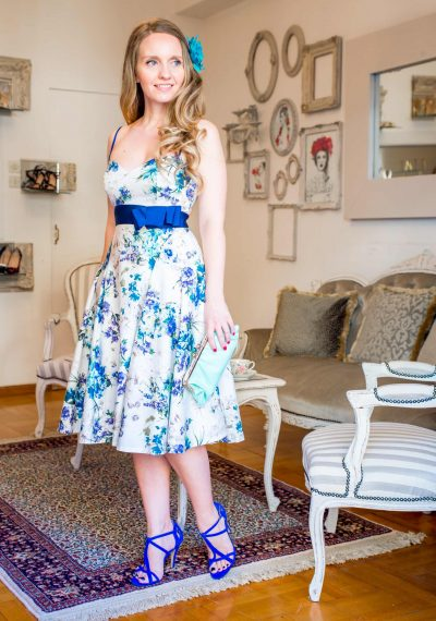 All day florale φόρεμα με φουρό
