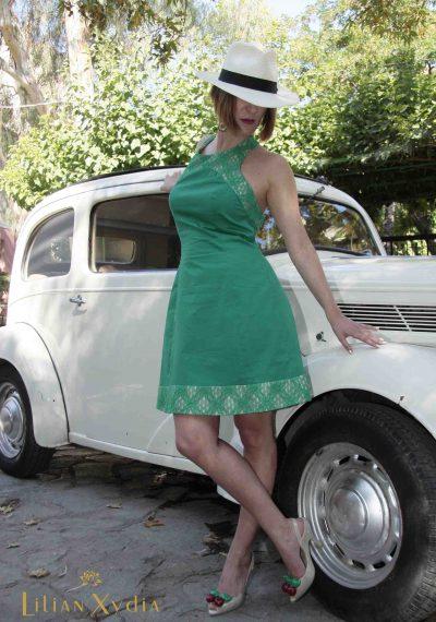 Φόρεμα 60's, day to night, με λαιμό από δαντέλα, strapless πλάτη και κουφόπιετα στη φούστα πίσω
