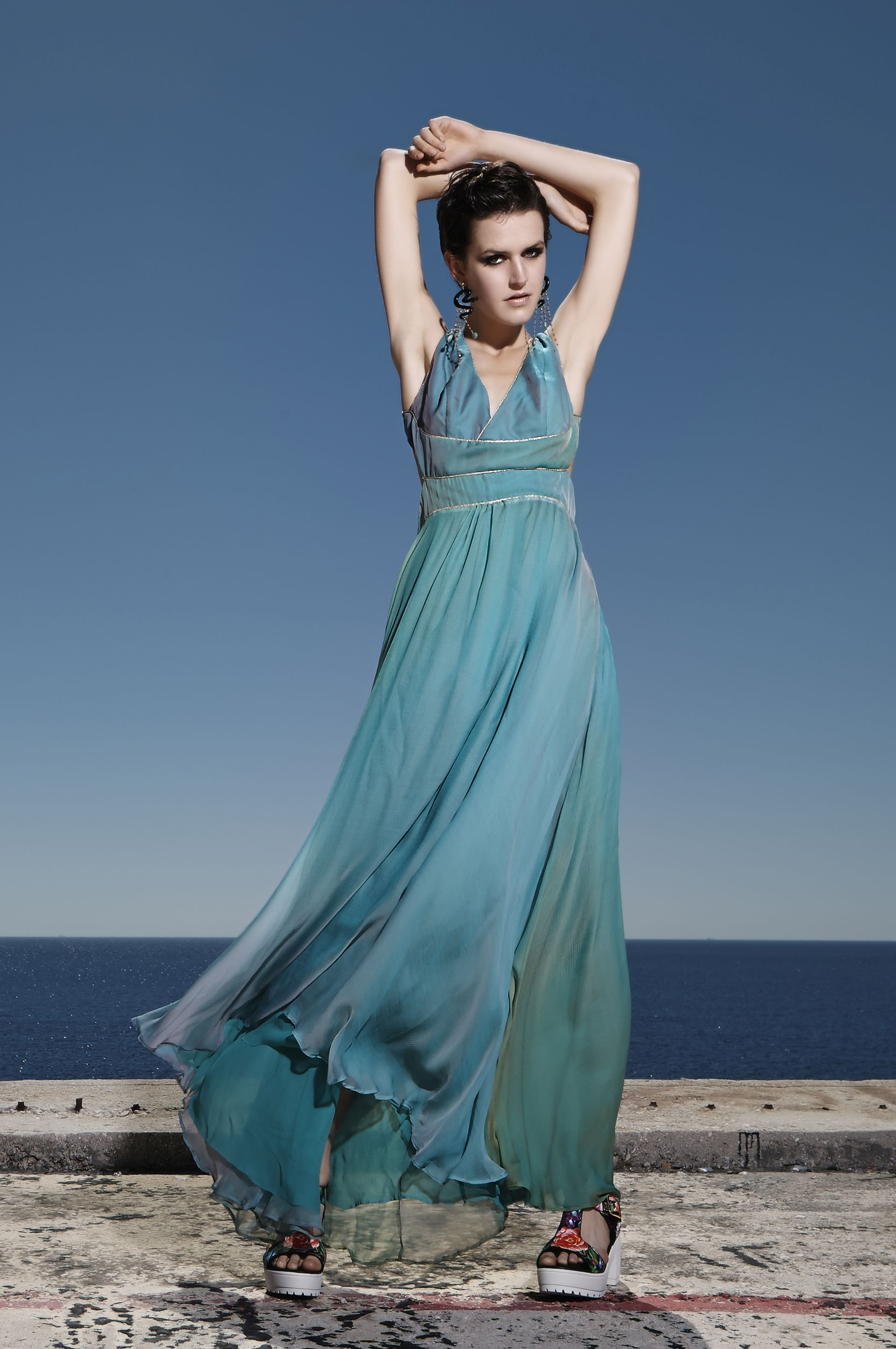 Μάξι βραδυνό μετξωτό φόρεμα