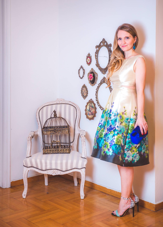 Cocktail μεταξωτό florale φόρεμα με ανοίγματα στη μέση
