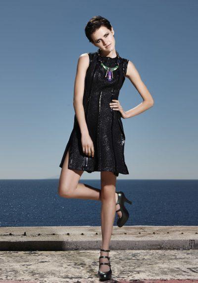 Μίνι φόρεμα brokar με δερμάτινες λεπτομέρειες