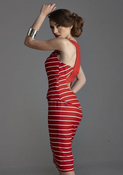 Navy pencil φόρεμα με ανοίγματα στην πλάτη