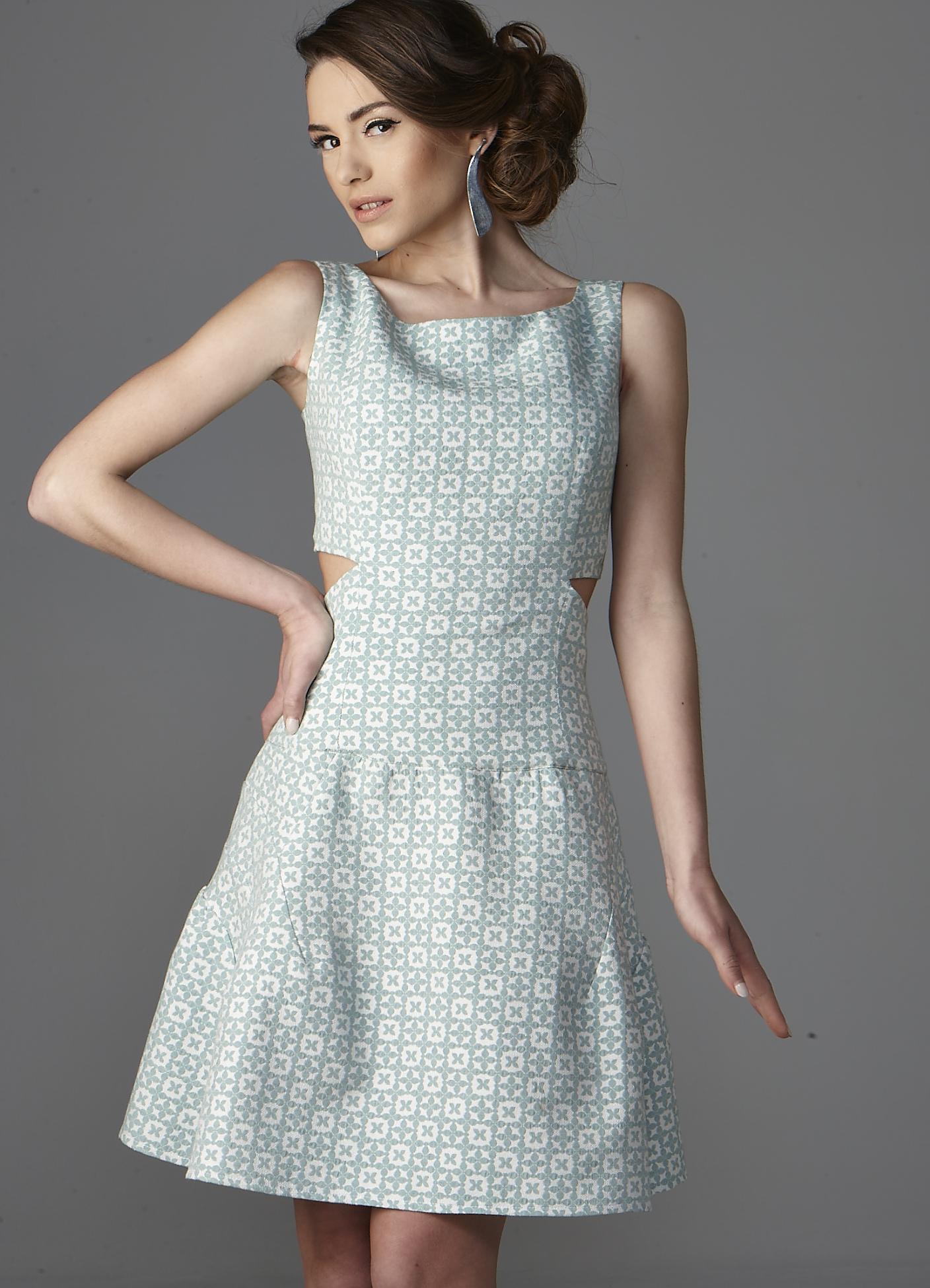 Πικέ μίνι φόρεμα με ψηλόμεση φούστα