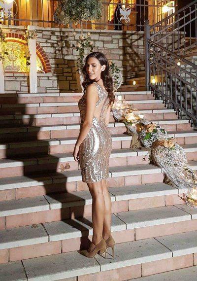 Μίνι Φόρεμα με λευκόχρυσες παγιέτες - Lilian Xydia