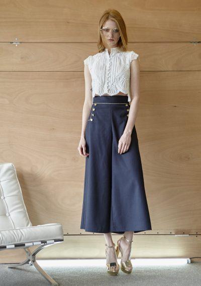Cool wool zip culotte με πουκάμισο με appliqué δαντέλα